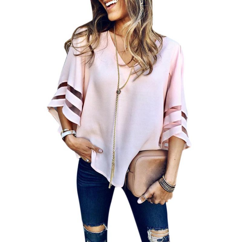 Chiffon-Shirts Stitching Quarter-Sleeves Loose Women Three Mesh Hot-Sale Large-Size Newest-Style