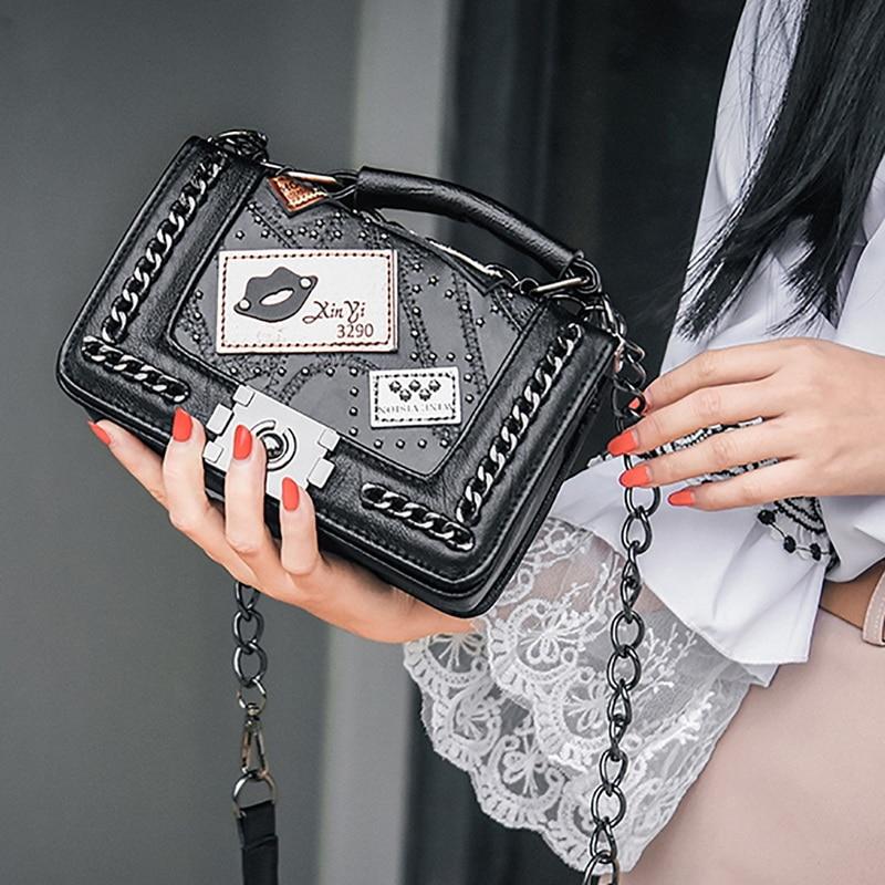 NIBESSER femmes Top-poignée sacs femmes sacs à main 2019 marque Designer chaînes Sac à bandoulière pour femmes Rivet Sac petits sacs pour femmes