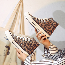 2019 spring and summer new casual shoes womens leopard high-top lace-up ladies  F5