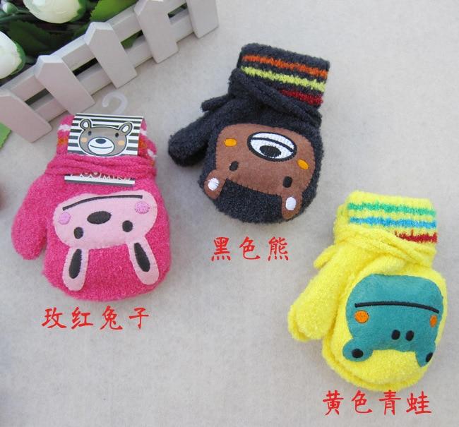 Yi wu Factory Children Boy Girls Cartoon Animals Design Gloves Kids Warm Winter Mittens Kid Accessories 3-48month