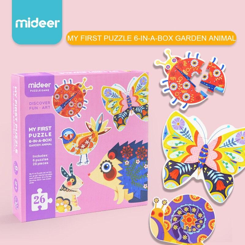 MiDeer enfants papier puzzle jeu grand pièces jardin animaux cognitive puzzle baby learning education jouets 2Y +