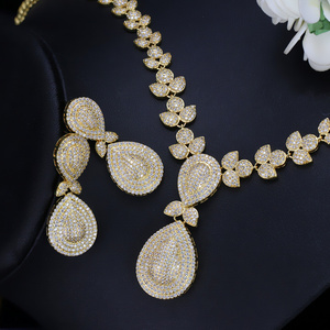 Image 3 - CWWZircons Noble Micro Pave Cubic Zirconia Stones Luxury Dubai Gold Color Bridal Wedding Necklace Jewelry Sets for Women T157
