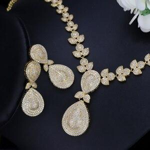Image 3 - CWWZircons Noble Micro Pave cyrkonie luksusowe dubaj złoty kolor naszyjnik biżuteria ślubna dla nowożeńców zestawy dla kobiet T157
