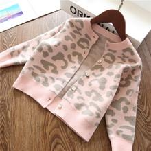 Odzież wierzchnia dziewczęca dla niemowląt płaszcz dla dziewczynki moda Leopard Cardigan odzież sweter znosić dzieci dzieci jesień zimowe płaszcze 2-8 lat tanie tanio HUANXIXIAOXIONG Na co dzień COTTON 694565551 Pasuje prawda na wymiar weź swój normalny rozmiar Cienkie Pełna Kurtki płaszcze