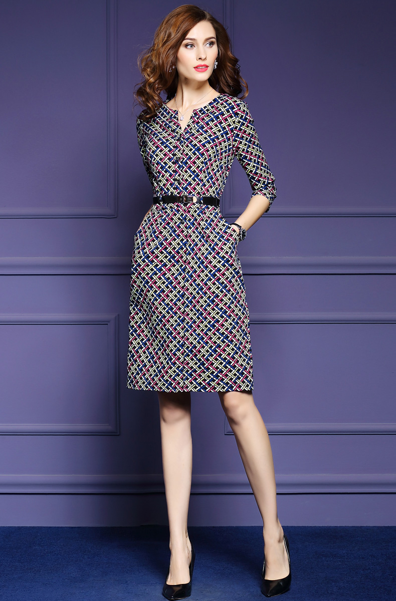 Zmvkgsoa Elegant Autumn Vintage Dress Fall Women Casual Half Sleeve Knee Length Multicolor Plaid A-Line Dress Feminina Y1697 6