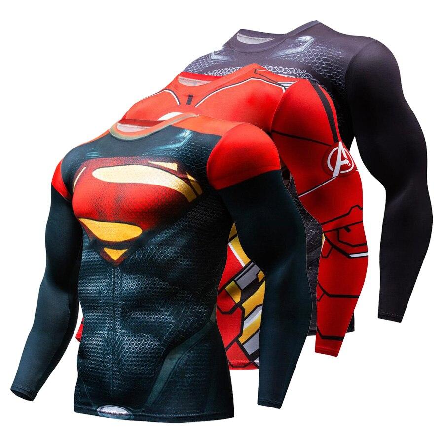 Nouvelle offre spéciale Superman punisseur Rashgard course chemise hommes T-shirt à manches longues Compression chemises Gym T Shirt Fitness Sport chemise