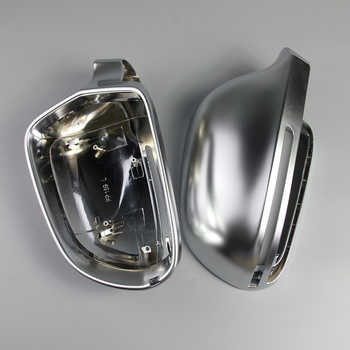 New 1 Pair of Silver Matte Chrome Rearview Mirror Cover Shell Protection Cap for Audi B8 A3 S3 RS3 A4 A5 A6 S4 RS4 S6 RS6 Q3