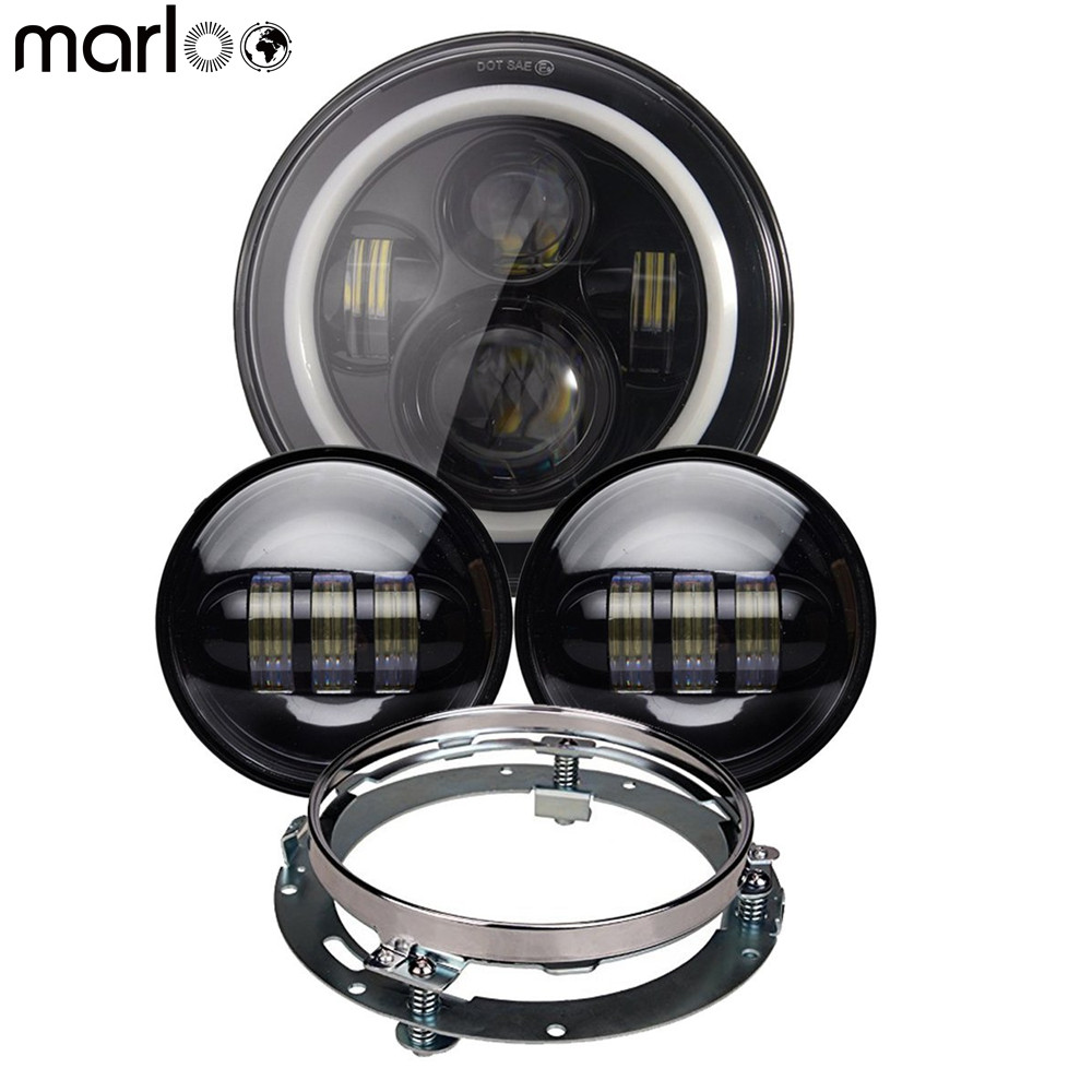 Marloo 7 Inch Round LED Headlight w/ Halo Ring Angel Eyes DRL 4.5 Fog Passing Lamps & 7 Mounting Bracket For Harley Motorcycle