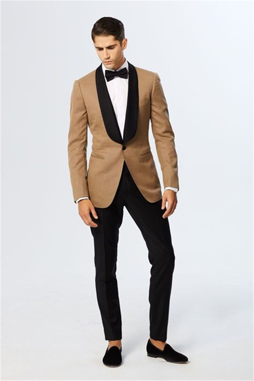 Latest Coat Pant Designs Champagne Blazer Black Lapel Groom Tuxedos Italian Style Mens Wedding Prom Party Suits(Jacket+Pants)