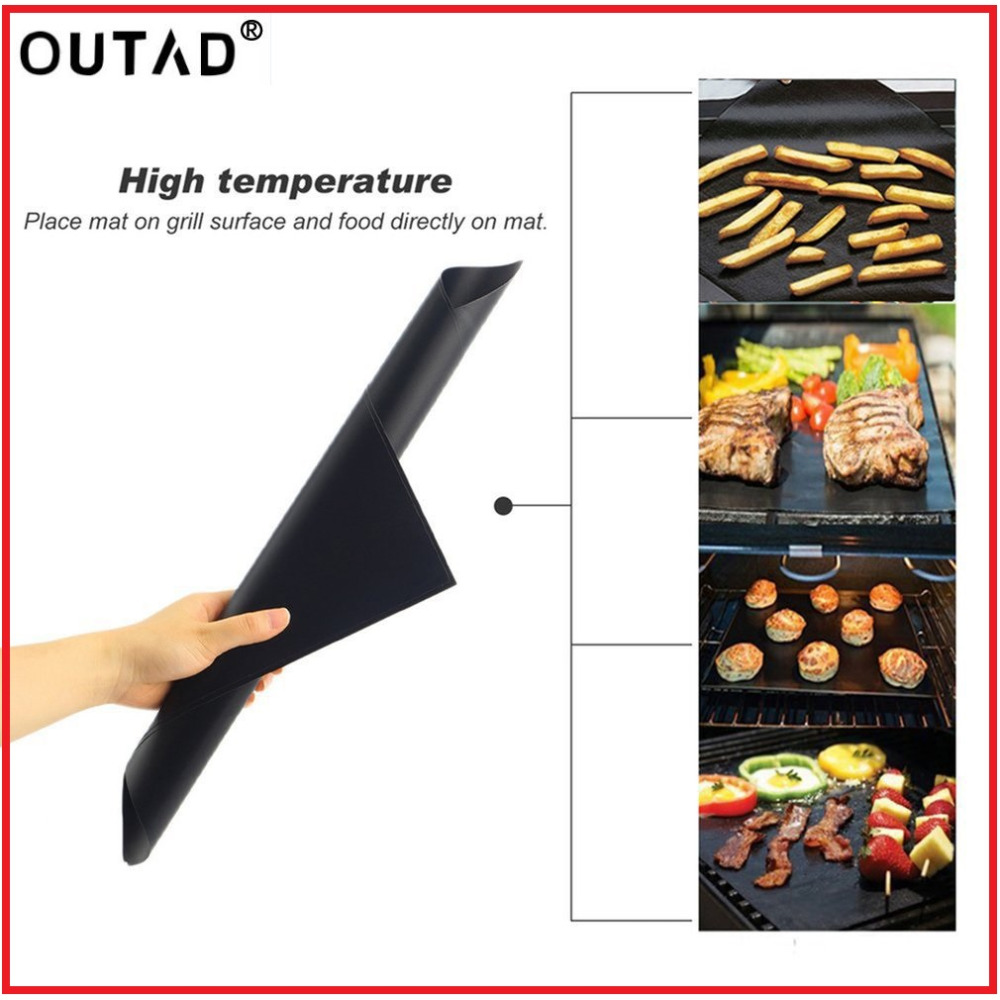 OUTAD 3pcs/5pcs Reusable Non-Stick BBQ Grill Mat Pad Baking Sheet Meshes Portable Outdoor Picnic Cooking Barbecue Tool