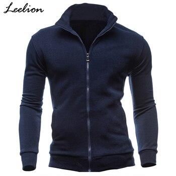 LeeLion New Hoodies Men Fleece Zipper Sweatshirts