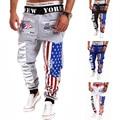 2017 New Arrival Men Pants Prints USA Flag Design Mens Jogger High Quality Cargo Trousers