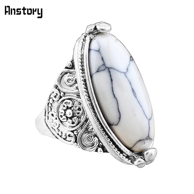 Flower Band Oval Natural Stone Rings For Women Vintage Look Antique Silver Plate