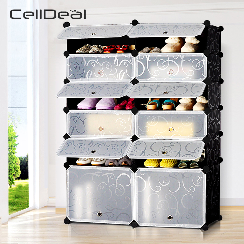 Interlocking DIY Cube Shoe Bookcase Organizer Rack Stand Storage Cabinet Holder Shoes Shelf Shoe Organizer