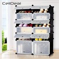 Interlocking DIY Cube Shoe Bookcase Organizer Rack Stand Storage Cabinet Holder Shoes Shelf Shoe Organizer