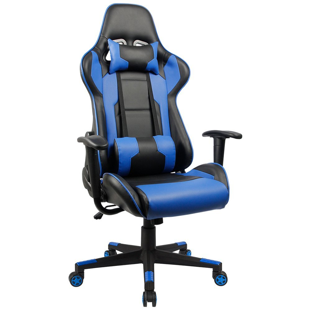 Blue Office Chair Solid Wood Rocking Homall Executive Swivel Leather Gaming Racing Style High Back With Lumbar Support And Headrest White In Chairs From Furniture