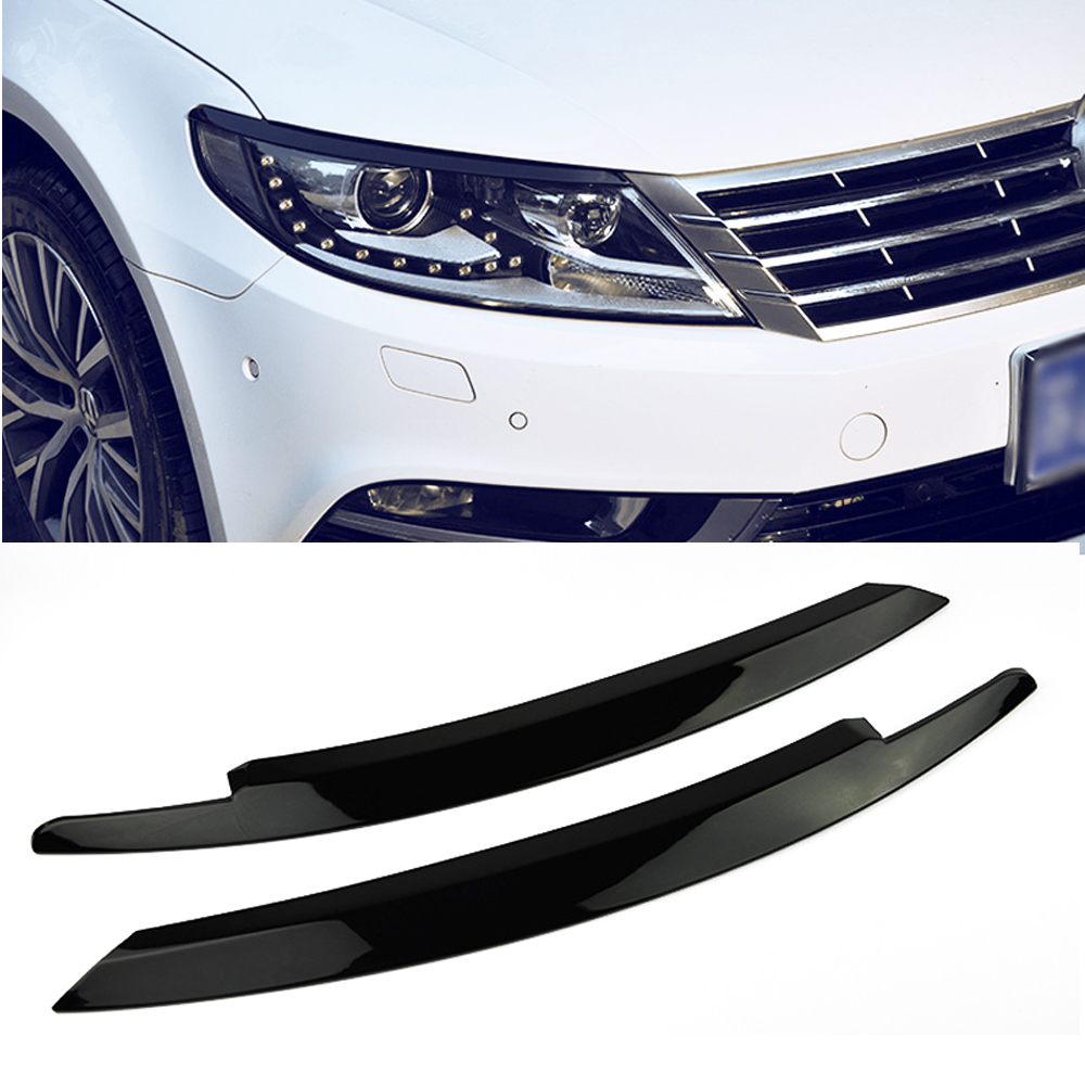 Pour VW Volkswagen PASSAT CC 2013 2016 2017 2018 Avant De la Voiture Head Light Lampe Sourcils Garnitures Phare Bandes Lunette 2 pcs Car Styling