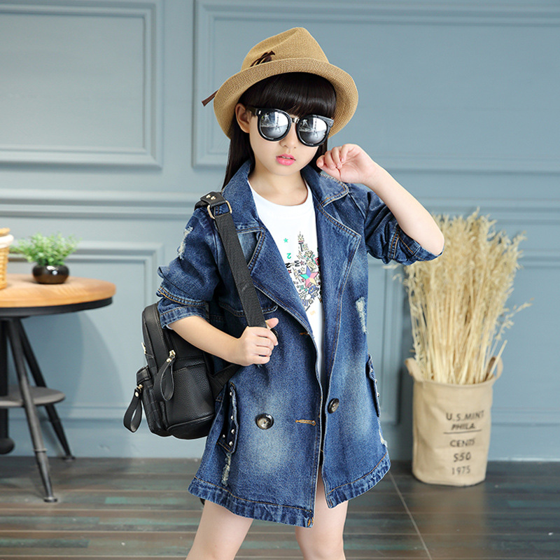 ФОТО Kids girls denim jacket 2017 spring and autumn new baby girls clothing fashion coat big virgin 6/7/8/9/10/11/12/13 years
