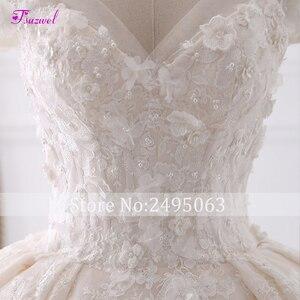Image 5 - Robe de mariée en dentelle à fleurs, robe de mariée avec Appliques, robe de mariée princesse, col mignon, perles, Train Royal, robe de bal, 2020