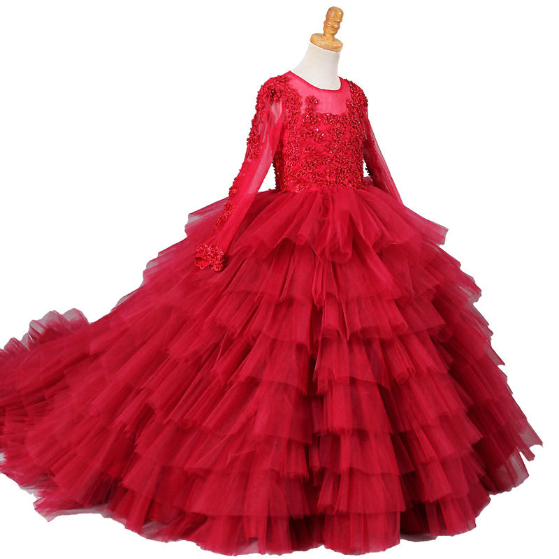 long sleeve little girls dresses tulle ball gowns for kids beaded first communion dress long fancy red girls pageant dresses fancy pink little girls dress long flower girl dress kids ball gown with sash first communion dresses for girls