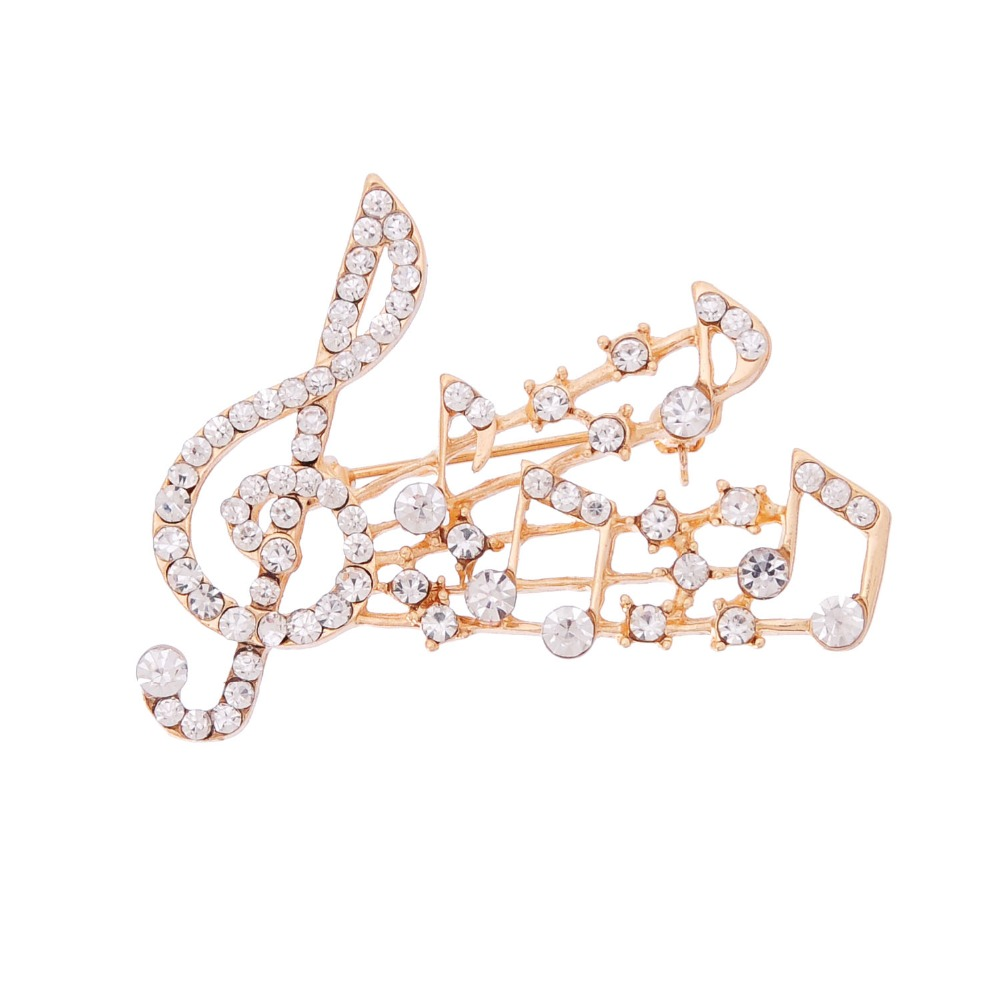 Hot Sale Musical Note Large Crystal Brooch Pin For Women Austrian Zircon Crown Brooch Pin Jewelry Party Dress Decoration