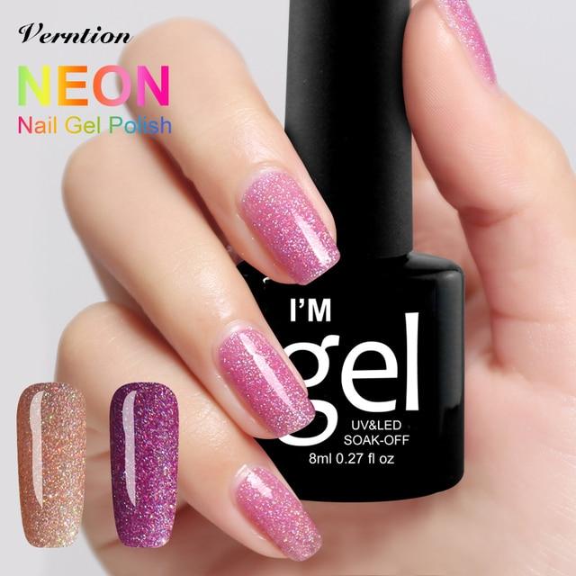 Verntion Neon Gel Varnish Soak Off UV Color Gel Nail Polish Lucky ...