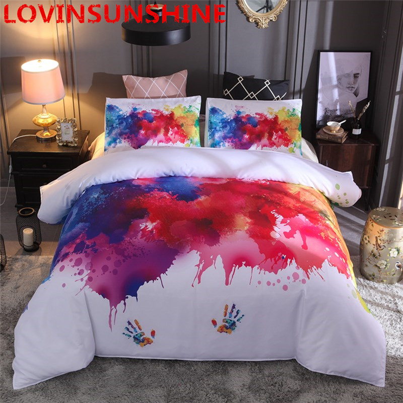 Colorful Bedding Set Watercolor splash Quality Cover Home King Queen Size Soft White Duvet Cover and Pillowcase-in Duvet Cover from Home & Garden