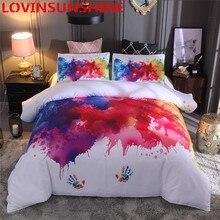 Lovinsunshineカラフルな寝具セット水彩スプラッシュ品質カバーキング、クイーンサイズの白布団カバーと枕aa99 #