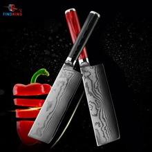 FINDKING חדש 6.5 אינץ nakiri סכיני דמשק פלדת להב דמשק שף סכין 67 שכבות דמשק מטבח סכין