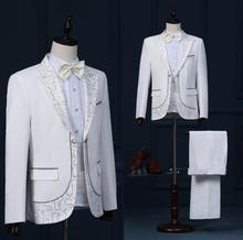 Singer star style dance stage clothing for men suit set with pants 2019 mens wedding suits costume groom formal dress tie white