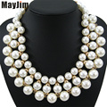 Statement Choker Necklace Fashion For women 2016 Brand Bead Collar Chunky Chain Bib Pearl Necklaces & Pendants Vintage Jewelry