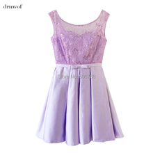 2017  o-neck lace satin short womens ball gown bridesmaid dresses off the shoulder double shoulder wedding party prom dress