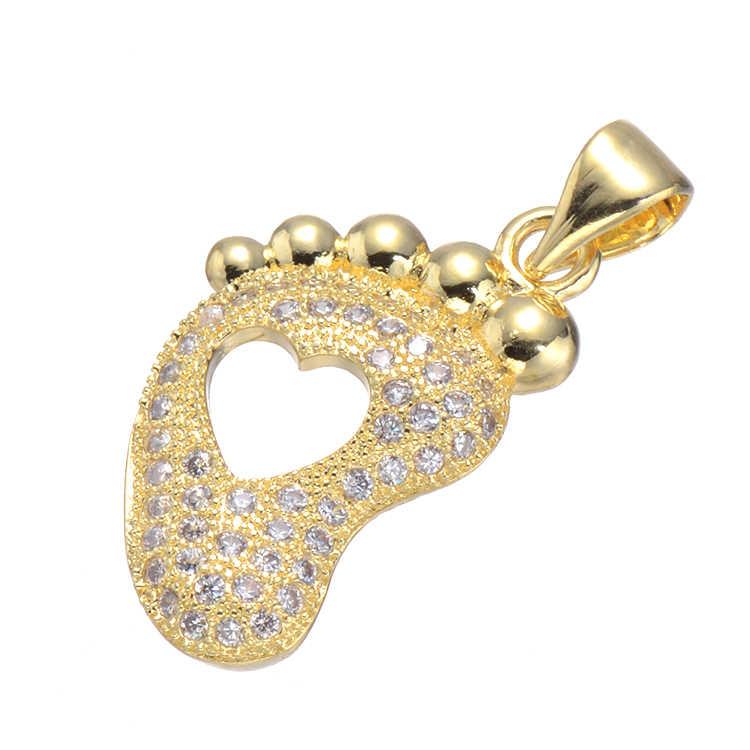 Zircon strass coração pé do bebê/hello kitty/chave encantos diy colar feminino pingente jóias acessório feito à mão fazer descobertas