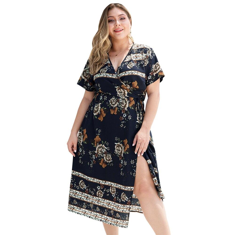 US $14.02 48% OFF Wipalo Women Plus Size Floral Deep V Neck Side Slit  Summer Dress Short Sleeves Mid Calf Casual Dress Ladies Boho Beach  Vestidos-in ...