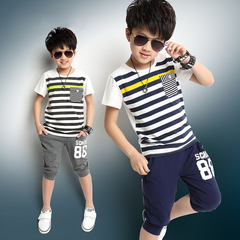 2016 New Summer Style Boys Casual Striped Sport Clothing Sets 4 13y