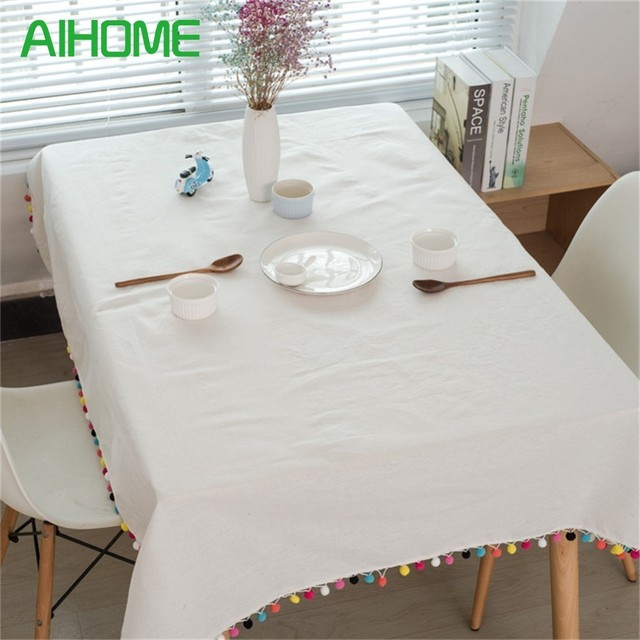 Solid Color Tablecloths Festive Decorative Tablecloths Colorful Fur Ball  Tassels Table Cover Protector For Wedding Party