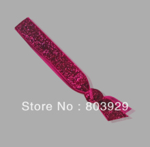 Elastic Shocking Pink Glitter Ribbon Hair Ties  5 8 Metallic Velvet Ribbon Hair Tie