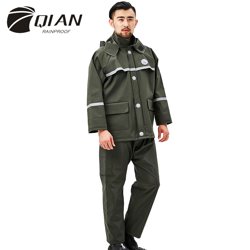 value for money fair price rich and magnificent US $43.23 6% OFF|QIAN RAINPROOF Impermeable Raincoat Outdoor Waterproof  Workwear Men Suit Rain Coat Hood Motorcycle Fishing Rain Gear Heavy Rain-in  ...