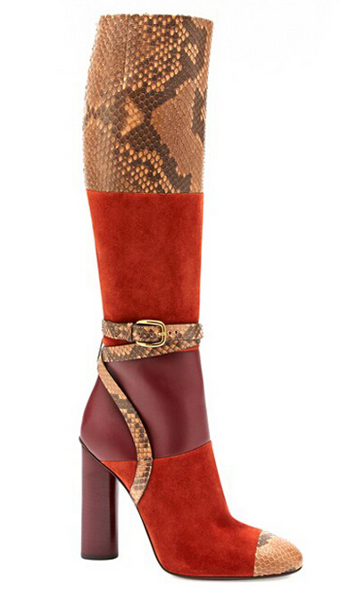 Spring new arrivals buckle strap patchwork knee boots thick high heels motorcycle boots mixed colors long boots size 35-42
