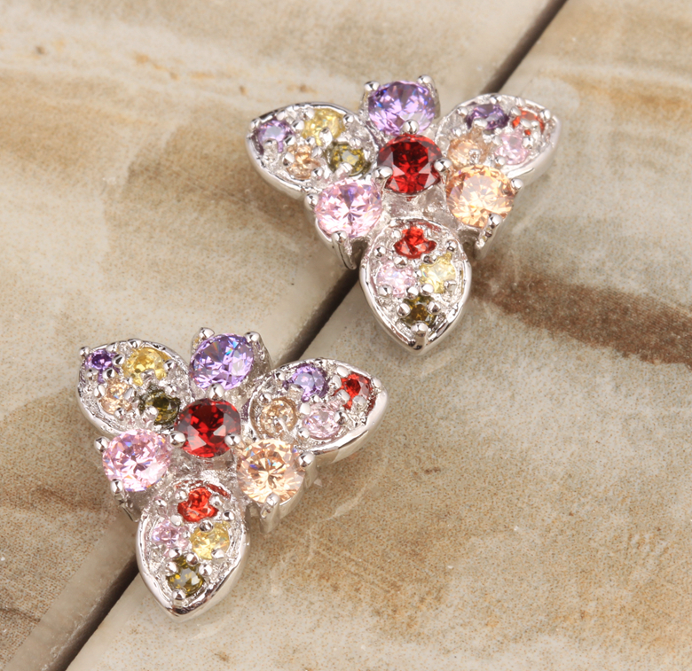 Brilliant Multigem Rainbow Garnet Cubic Zirconia Morganite Onyx 925 Sterling Silver Stud ...