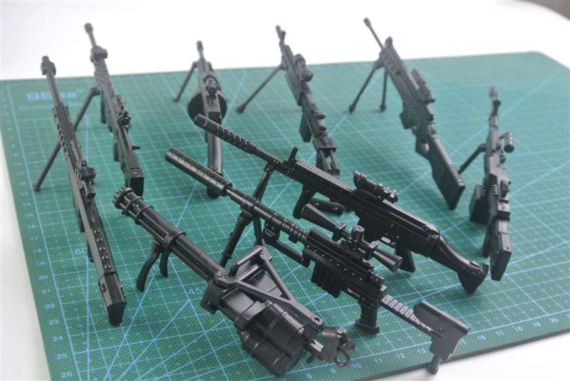 Plastic Gun Model 1:8 Assemble Firearm Machine Gun MG42 Barrett Gatlin Rifle Submachine Classic Assembling Building Toys 10 Guns