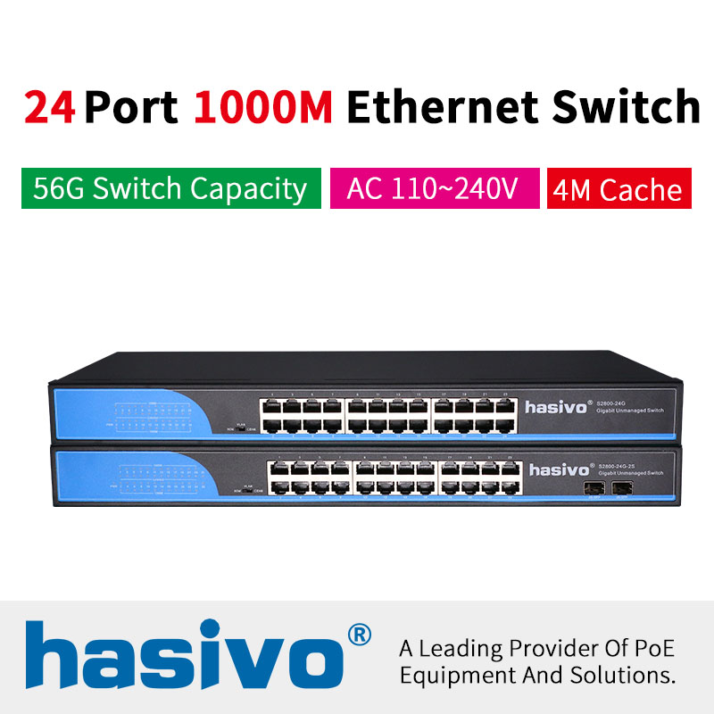 24 RJ45  Port Network Ethernet Switch 10/100/1000Mbps Ethernet Switch Gigabit Switch For Ip Camera