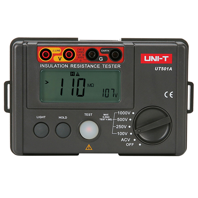 2018 UNI-T Resistance meter UT501A Insulation earth ground resistance meter 1000V Voltmeter w/LCD Backlight resistance tester uni t ut501a 2 8 lcd insulation resistance tester red grey 6 x aa