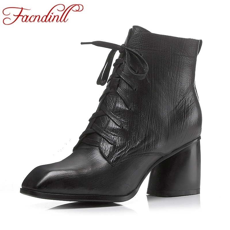 FACNDINLL women ankle boots new fashion autumn winter genuine leather high heels lace up shoes woman dress party short boots ladies autumn winter felt hat vintage bowler cloche hat