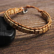 LanLi natural Jewelry 4x4mm light tan square Picture stone bracelet men and women Giving presents self use