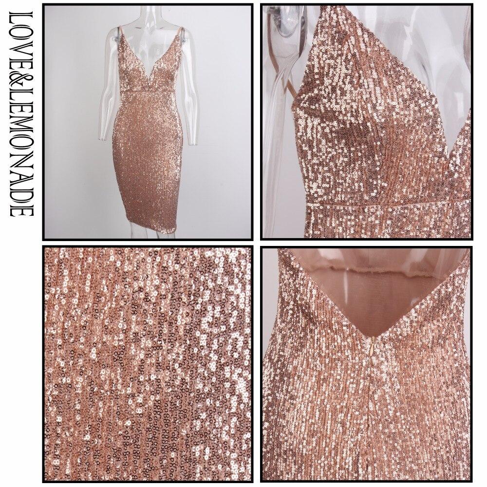 Love Lemonade Deep V Neck Rose Gold Elastic Sequins Halter Dress LM0363-in  Dresses from Women s Clothing on Aliexpress.com  90814dd266f3