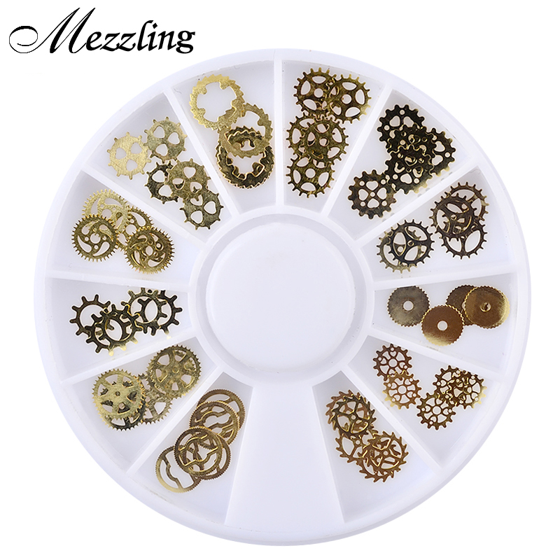 Mezzling 1 Box Ultra-thin Steam Punk Parts Style Nail Studs 3D Nail Art Decorations Wheel Metal Manicure DIY Nail Tips Art rice cooker parts steam pressure release valve