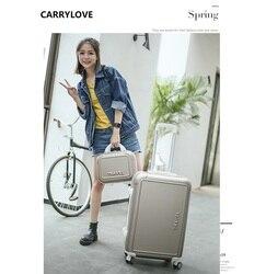 Carrylove moda bagagem série 20/22/24/26 polegada pc bolsa e rolando bagagem mala de viagem leve