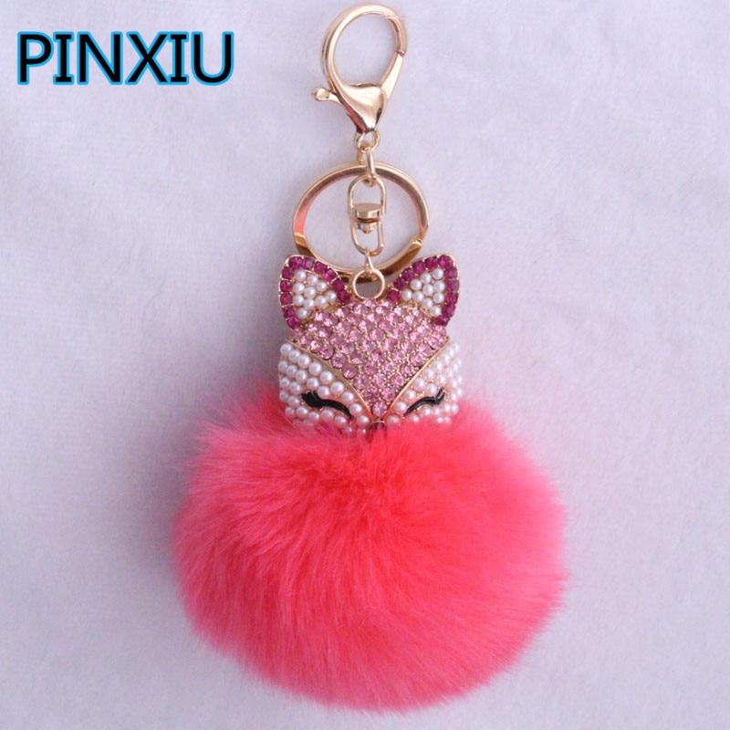 PINXIU 17 Colors Fur Pompom Car Keychain Fox Fur Ball with Artificial Fox Inlay Pearl Rhinestone
