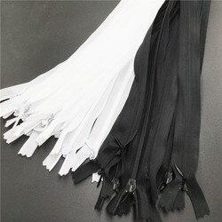 20 шт./лот, черная и белая невидимая молния, 25/40/50/60 см, скрытая задняя подушка для юбки, нейлоновая молния 3 # для шитья, аксессуары для одежды